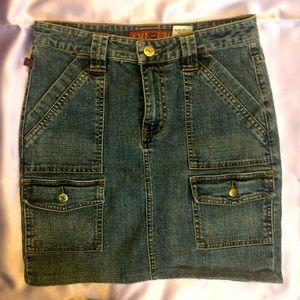 YMI Junior's Pocketed Blue Jean Skirt